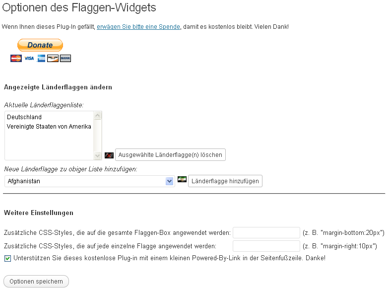 Konfiguration des Flaggen-Widgets