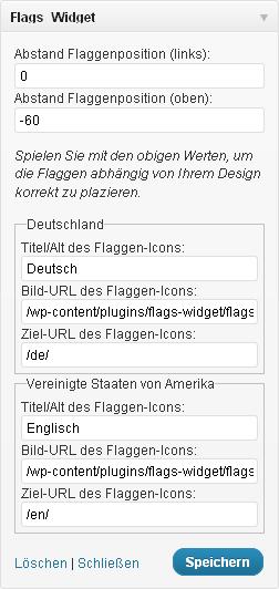 Optionen des Flaggen-Widgets