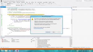 Screenshot der Ausnahme beim Versuch die Beispiel-App ohne Internetverbindung auszuführen