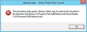 Screenshot des Fehlers beim Versuch das Visual Studio zu starten
