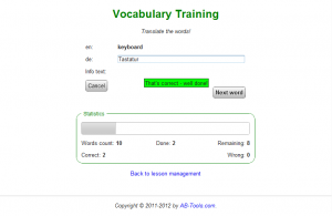 Screenshot der alten Version des Vokabel-Trainers: Vokabel-Training