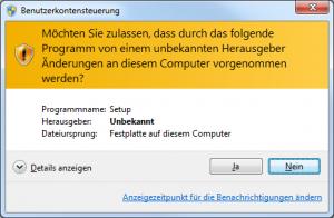 Benutzerkontensteuerung von Windows (nicht signiert)