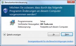 Benutzerkontensteuerung von Windows (signiert)