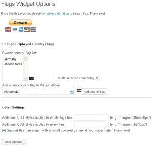 Flags Widget Configuration