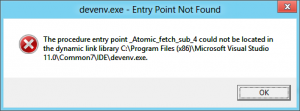 Screenshot of Error Message While Trying to Visual Studio