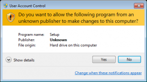 Windows User Account Control (Not Signed)